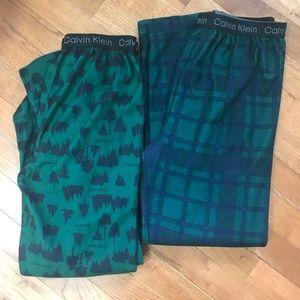 2 pair Calvin Klein Flannel Pajama Pants L 12-14